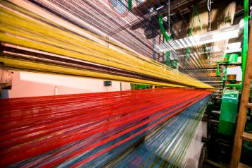 The Brussels weave loom, one of the biggest working looms at the Museum of Carpet