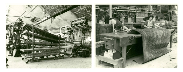 Photographs from the Foley collection, showing a loom at JG Harding (left) and staff at work for Pycock & Wickett Ltd (right)
