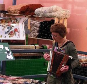 Heather Wastie seeks inspiration beside the Axminster loom